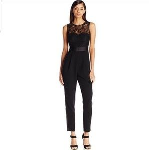 BCBG elegant satin lace black jumpsuit one piece
